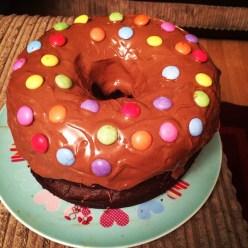 Chocolate giant donut cake