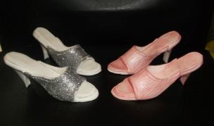 Glam shoes made from petal paste.