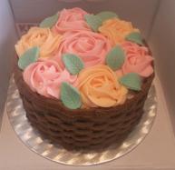 Vanilla rose basket cake