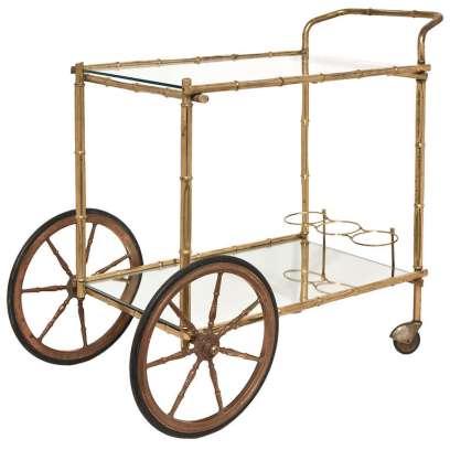 French Bagues Vintage Bamboo Bar Cart