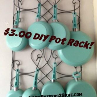 DIY Hanging Pot Rack, Only $3.00!