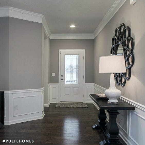 Bedroom Paint Ideas Two Tone Minimalist Bedroom Art Black Bedroom Accent Wall Colours For Small Bedroom Walls: Mindful Gray SW 7016 And Dorian Gray SW 7017