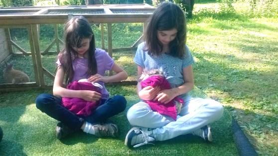 Cuddling the rabbits