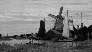 Monet Windmill at Zaandm 1871 greyscale