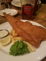 Fish and chips with London Porter