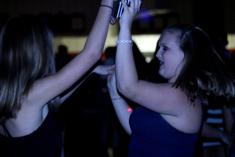 Students dance at the Sadie Hawkins dance. Photo by Karina Blodnieks