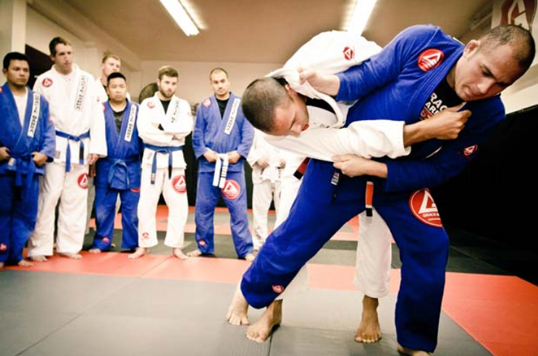 Students grapple at Gracie Barra Jiu-jitsu school. Brazilian Jiu-Jitsu is said to strike a balance between aggression and mutual respect. Photo courtesy of GB Vancouver