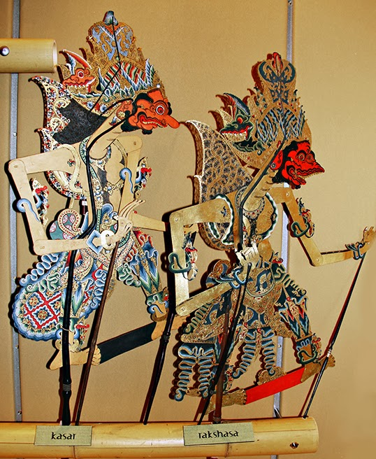 Two of the wayang kulit shadow puppets currently on display at the Surrey Museum. | Photo courtesy of Surrey Museum