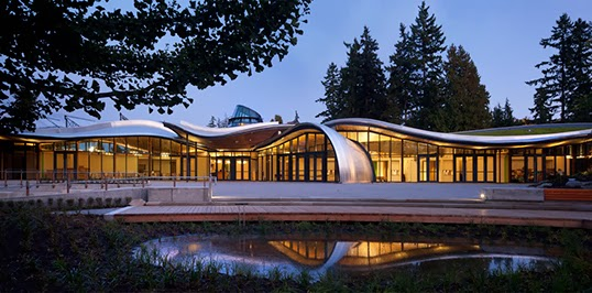 The Vancouver Botanical Garden's Visitor Centre features an orchid-inspired design and a green roof.   Photo courtesy of Jetson Green