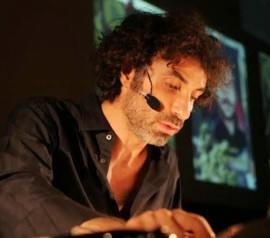 Artist Rabih Mroué – art and technology, guardians of history.   Photo by Houssam Mcheimech, courtesy of grunt gallery.