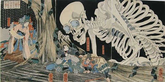 Princess Takiyasha Calling Up a Monstrous Skeleton Spectre at the Haunted Old Palace at Sōma, Utagawa Kuniyoshi. | Photo courtesy of West Vancouver Museum