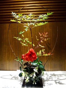 Flower arrangement at Sangetsu School of Ikebana.   Photo courtesy of Joan Fairs