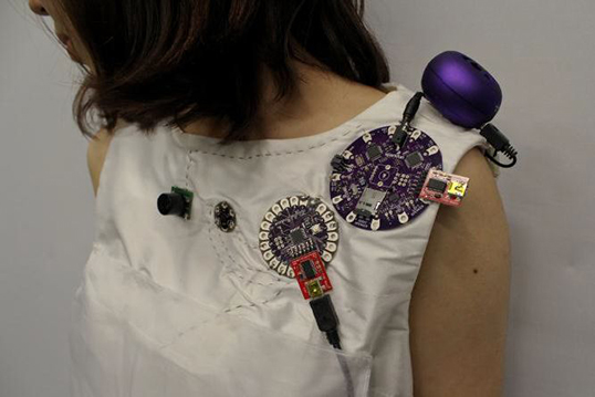 Detail of dress.| Photo courtesy of SFU SIAT MovingStories - Soma Embodied Wearable Group 2015