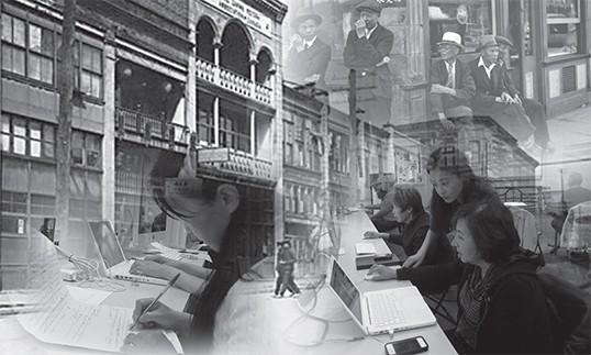 Working on digitizing stories.   Photo courtesy of Cinevolution Media Arts Society