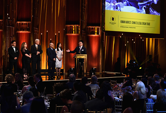 Leon Lee is presented with the Peabody award for Human Harvest.| Photo by Ilya S. Savenok/Getty Images for Peabody Awards.