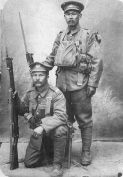 Sgt Masumi Mitsui and Masajiro Shishido of the 10th Battalion in uniform before departure 1916.| Photo courtesy of Nikkei National Museum & Cultural Centre.