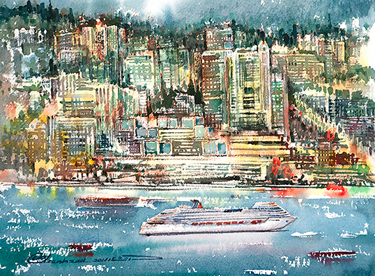 North Vancouver Waterfront At Night (Detail), a watercolour by Mohammad Reza Atashzad.| Photo courtesy of Mohammad Reza Atashzad.