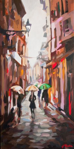 "Umbrellas, Bologna Italy, by Joanne Hastie (12"" x 24"" acrylic on canvas).
