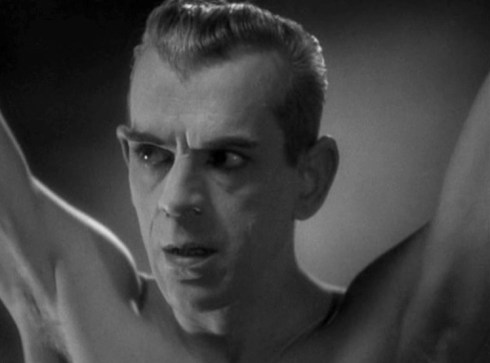 Flaying Karloff's face close up