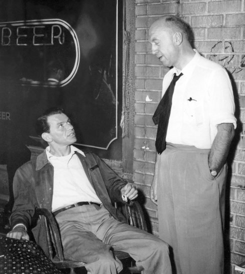Preminger and Frank Sinatra on the set of Man With The Golden Arm