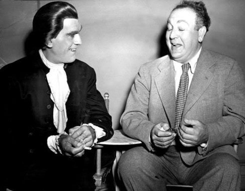 Val Lewton with Boris Karloff set of Bedlam