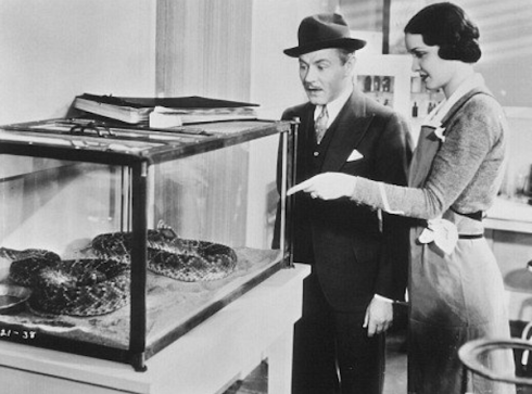 Charles Ruggles and Kathleen Burke in the snake house
