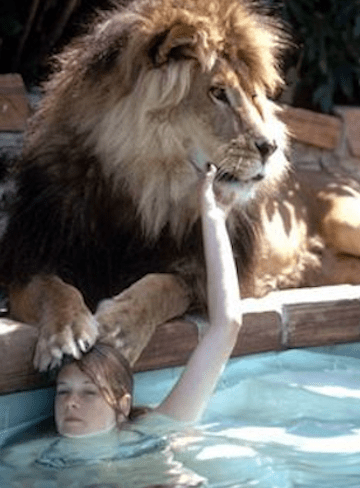 melanie griffith with Neil the lion at moms big cat advocate's sanctuary