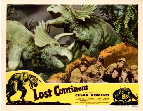 Lost Continent 1950 lobby card dinosaurs
