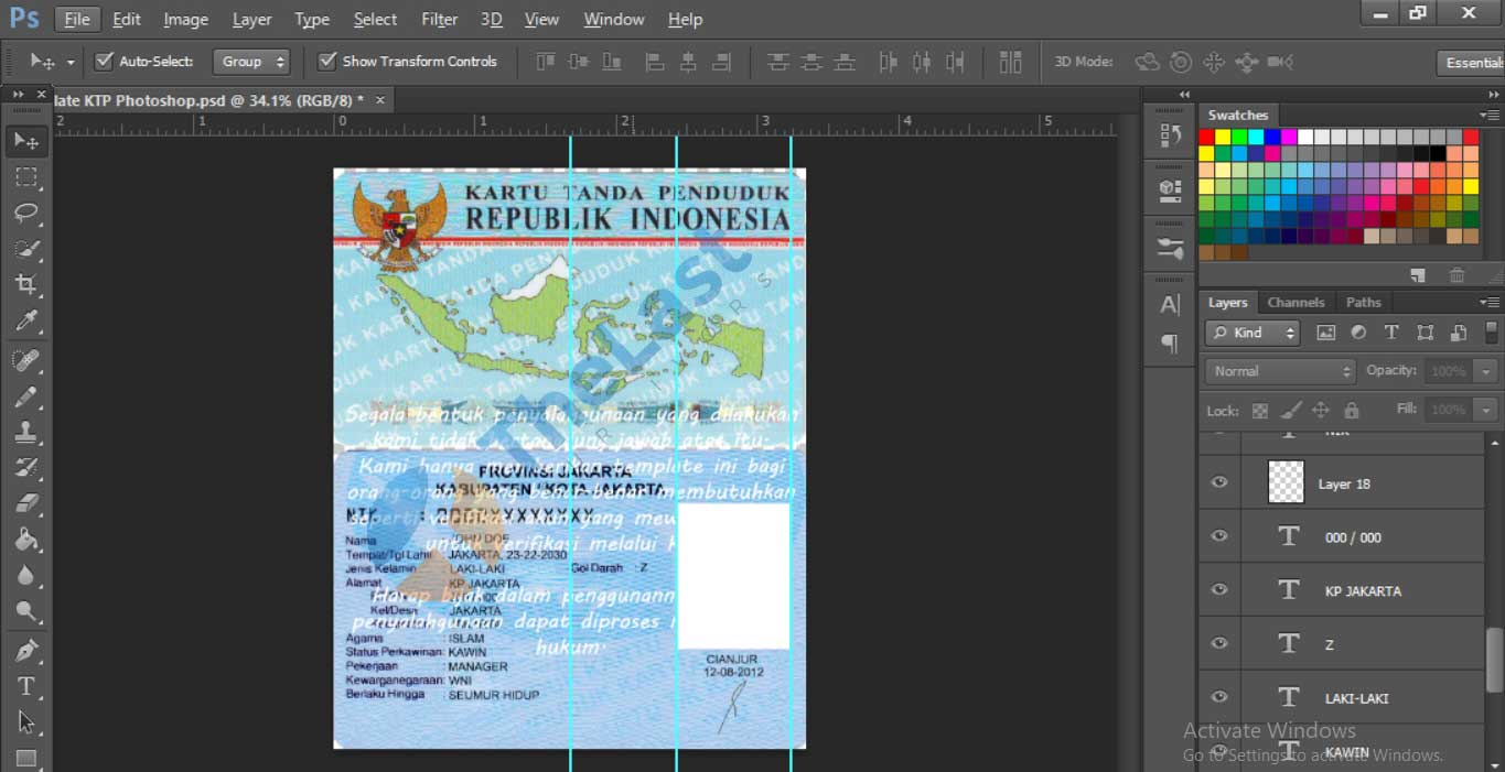 download template e-ktp psd