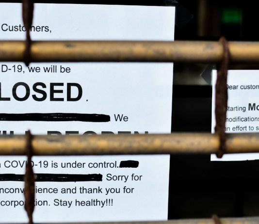 COVID lockdown shop sign