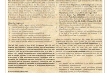 Call for Interns F.Y. 2021-2022: Applications Open at Black Robes Legal, Delhi - The Law Communicants
