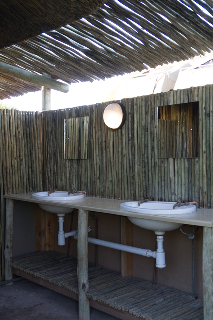 Twin handbasins in the ladies' ablution block at Palmwag Campsite