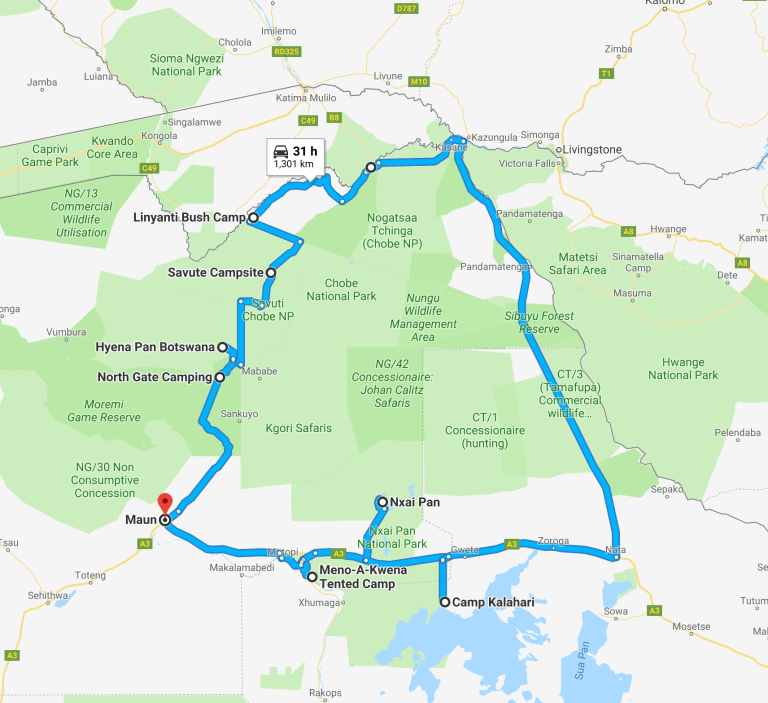 Botswana Self-Drive Safari Map