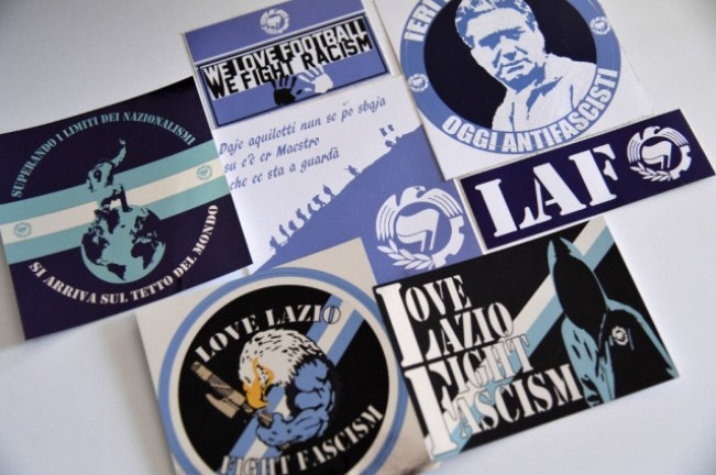 Stickers created by LAF, the 'Laziale and Anti-Fascist' Group, Source- Andreas Solaro