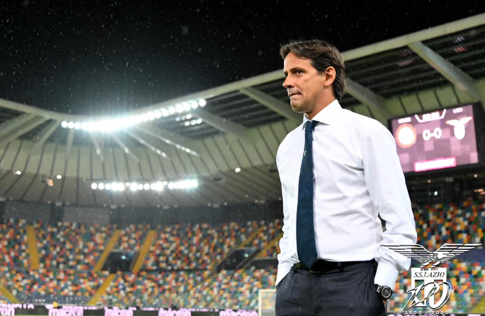 Simone Inzaghi In Deep-Thought During Udinese vs Lazio, Source: Official S.S. Lazio