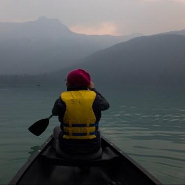 photo of monica on a canoe in emerald lake