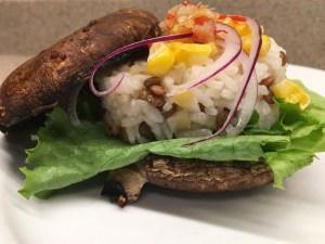 photo of portabello mushroom burger
