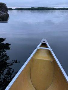 canoe in burnt lake