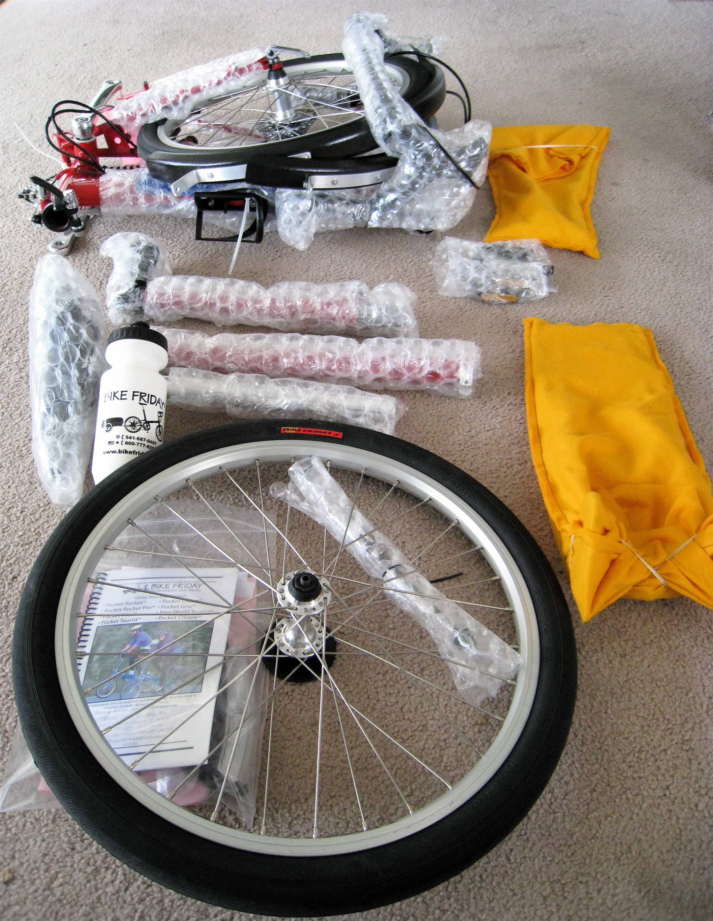 A Bike Friday Pocket Sport in pieces.