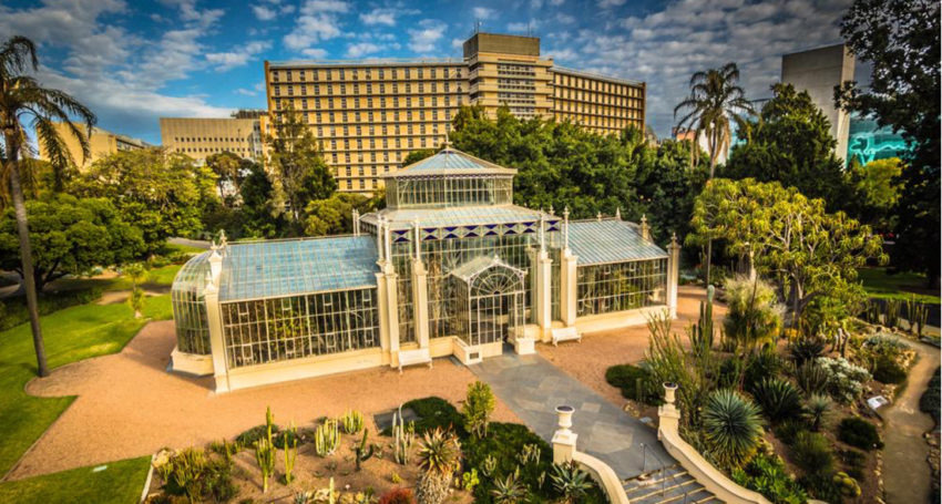 friday september 22 2017 the adelaide botanic garden s palm house with the soon to be demolished royal adelaide hospital east wing in the background