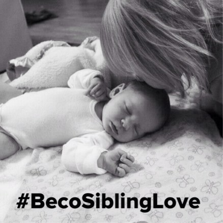 #BecoSiblingLove b:w newborn kiss