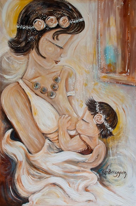 The talented Katie M. Bergen has a stunning collection of art that honors parenting and families.