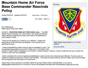 Mountain Home Air Force Base rescinds breastfeeding policy