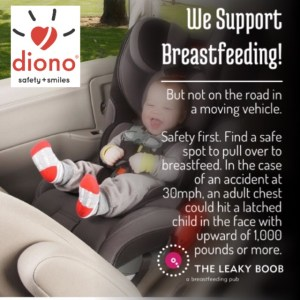 Breastfeeding in the car seat moving vehicle child passenger safety