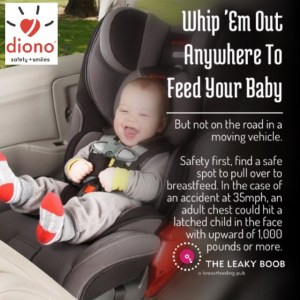 Is it safe to lean over my baby's car seat to breastfeed?