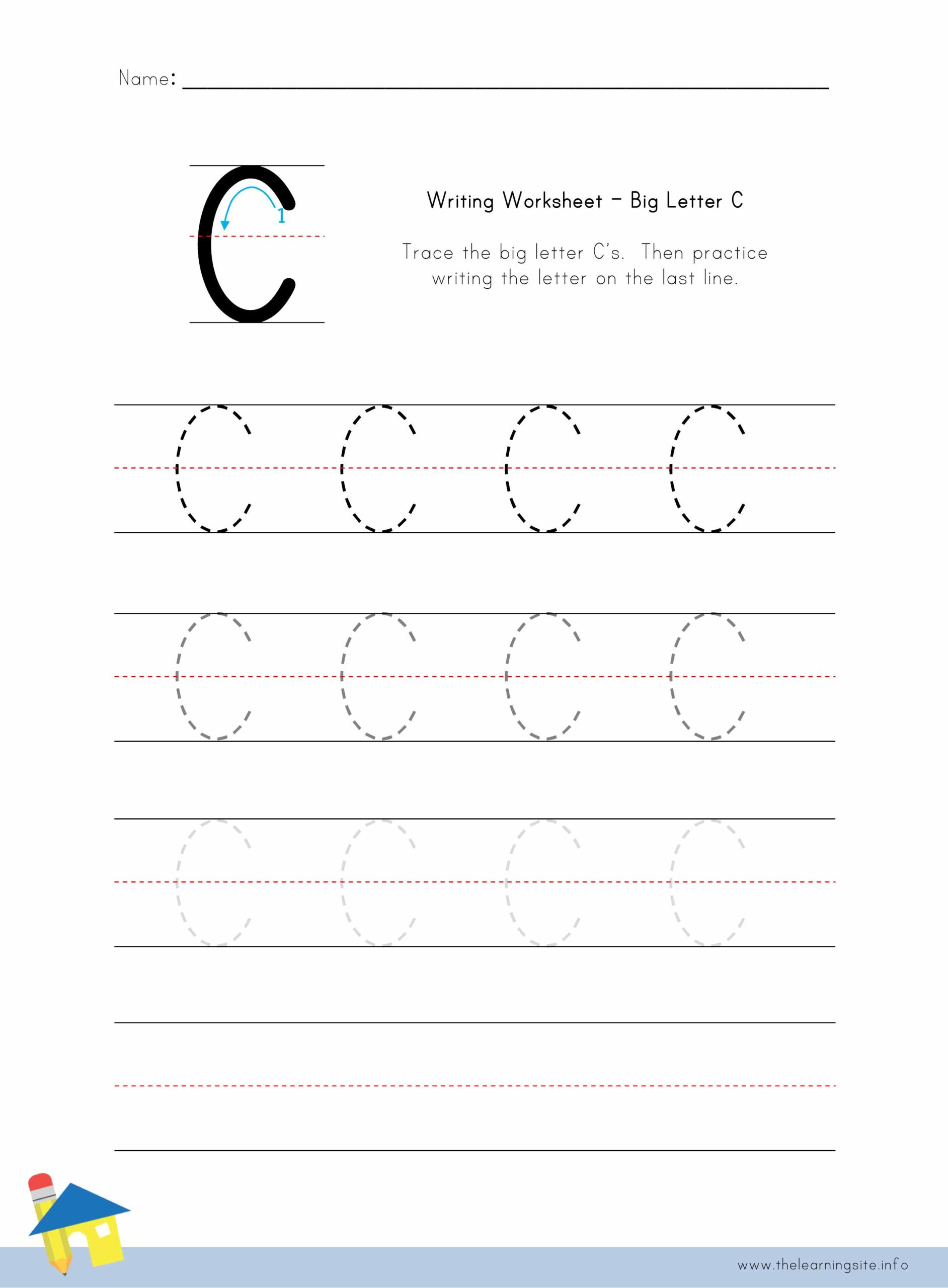 Big Letter C Writing Worksheet The Learning Site