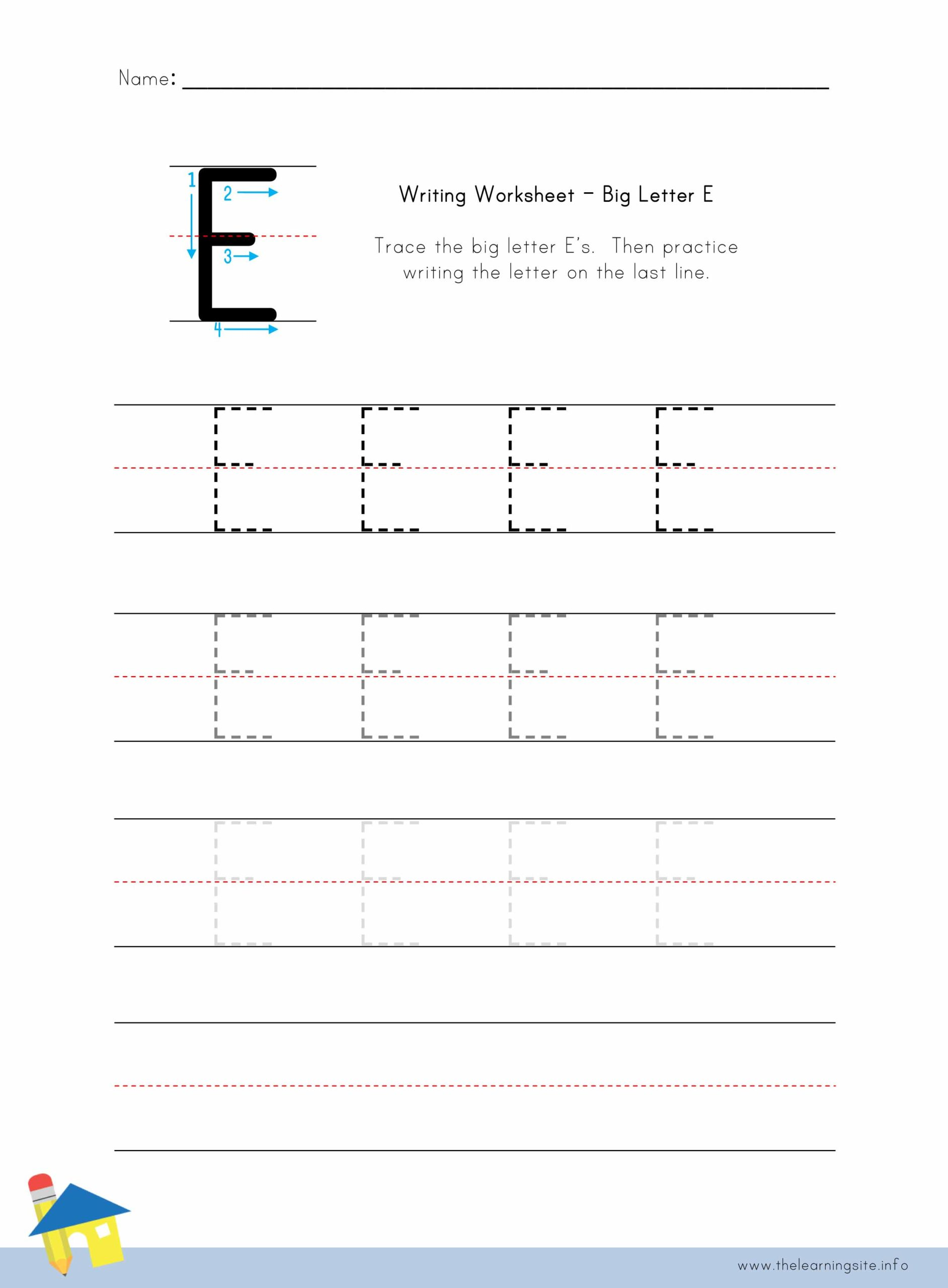 Big Letter E Writing Worksheet The Learning Site