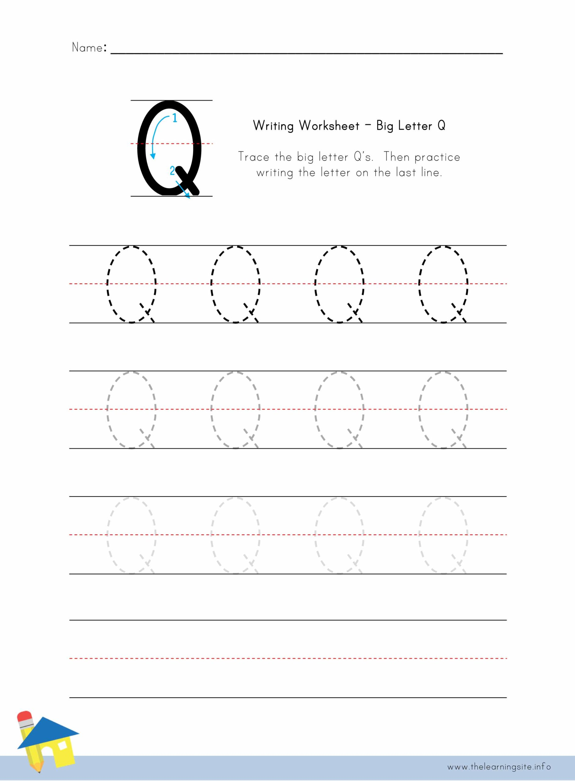 Big Letter Q Writing Worksheet The Learning Site