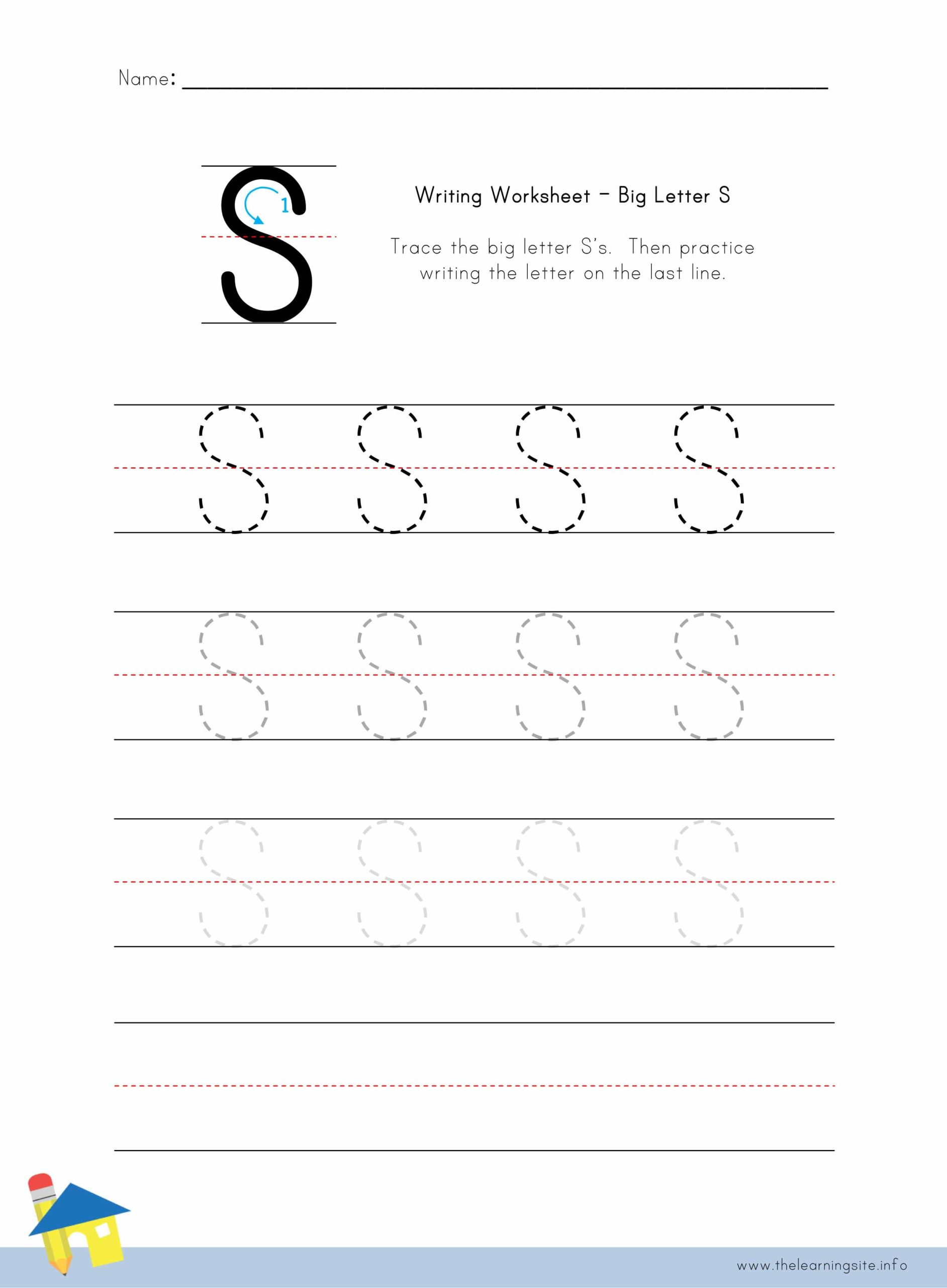 Big Letter S Writing Worksheet The Learning Site