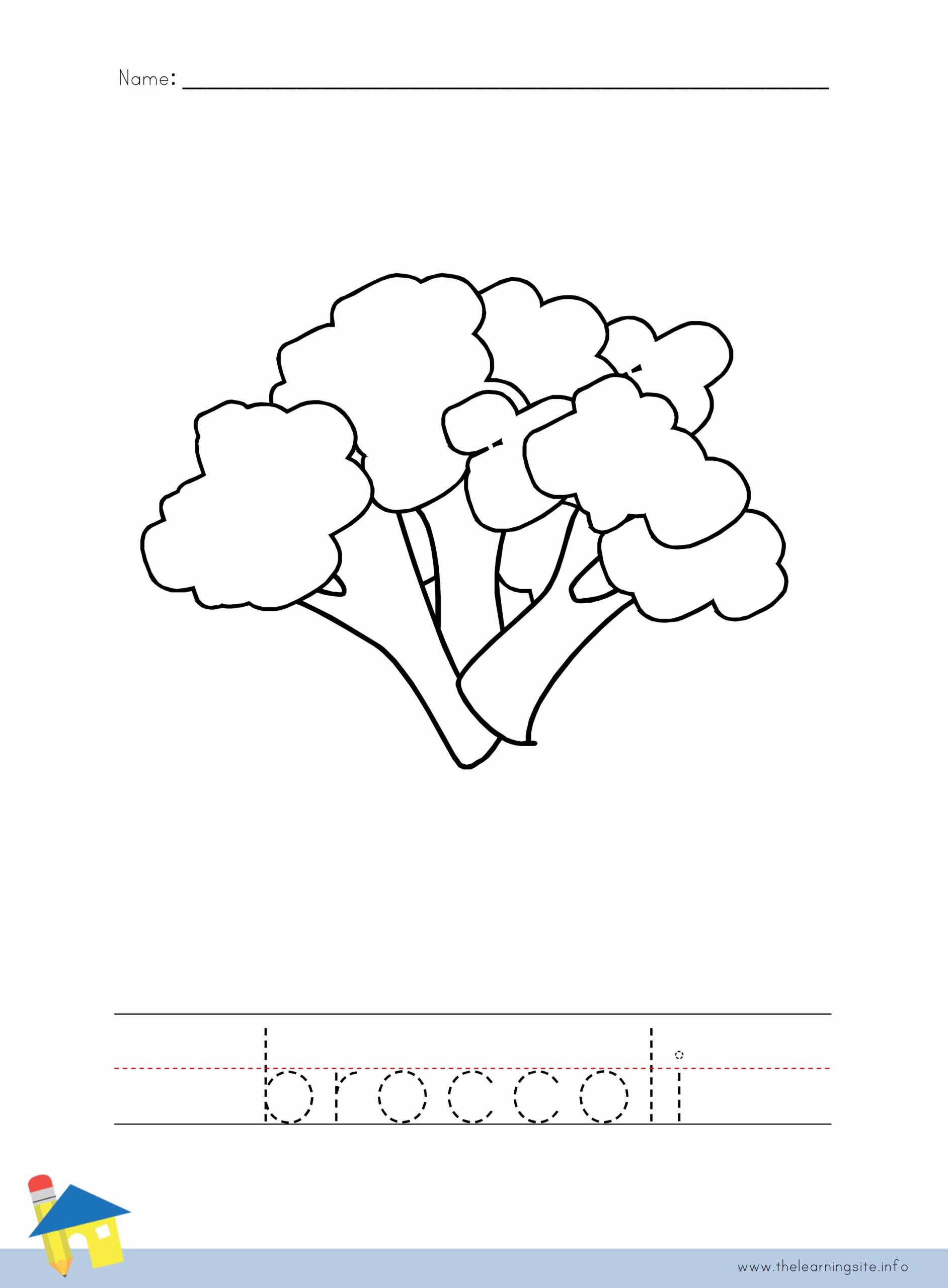 Broccoli Coloring Worksheet The Learning Site